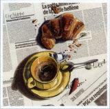 Cafe et Croissant Posters by Lionel Chiche-portiche