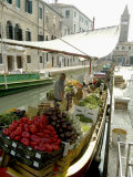 Canalside Vegetable Market Stall, Venice, Veneto, Italy Photographic Print by Ethel Davies