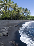 Punaluu Black Sand Beach, Island of Hawaii (Big Island), Hawaii, USA Reproduction photographique par Ethel Davies