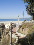 View from Palisades Down to Beach, Santa Monica Beach, Santa Monica, California, USA Photographic Print by Ethel Davies