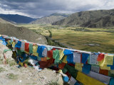 Prayer Flags and View Over Cultivated Fields, Yumbulagung Castle, Tibet, China Photographic Print by Ethel Davies