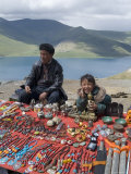 Craft Stand, Turquoise Lake, Tibet, China Photographic Print by Ethel Davies