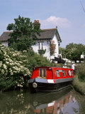 Narrow Boat and Lock, Aylesbury Arm of the Grand Union Canal, Buckinghamshire, England Photographic Print by Philip Craven