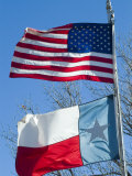 American and Texan Flags, Texas, USA Photographic Print by Ethel Davies