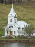 Blue Lutheran Church, Seydisfjordur Ferry Terminal Village, North East Area, Iceland, Polar Regions Photographic Print by Neale Clarke