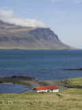 Red Roofed Farm Buildings, Faskrudsfjordur, East Area, Iceland, Polar Regions Photographic Print by Neale Clarke