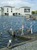 Radhus (City Hall) with Children Feeding Birds, Reykjavik, Iceland, Polar Regions Photographic Print by Ethel Davies