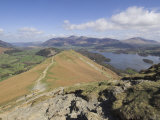 View of Derwent Water from Catbells, Lake District National Park, Cumbria, England Fotoprint van Neale Clarke