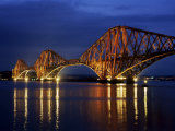 Forth Railway Bridge at Night, Queensferry, Edinburgh, Lothian, Scotland, United Kingdom Photographic Print by Neale Clarke