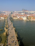 Elevated View Over Charles Bridge, Vltava River and Mala Strana, Prague, Czech Republic Photographic Print by Neale Clarke