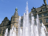 Town Hall and Peace Garden Fountains, Sheffield, South Yorkshire, England, United Kingdom Photographic Print by Neale Clarke