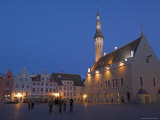 Old Town Hall in Old Town Square at Night, Old Town, Unesco World Heritage Site, Tallinn, Estonia Photographic Print by Neale Clarke
