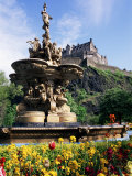 Castle and Princes Street Garden Fountain, Edinburgh, Lothian, Scotland, United Kingdom Photographic Print by Neale Clarke