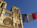French Flag and Notre Dame De Paris, Christian Cathedral, Ile De La Cite, Paris, France Photographic Print by Neale Clarke