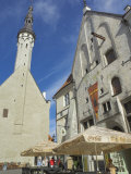 Old Town Hall Spire and Cafe, Tallinn, Estonia, Baltic States Photographic Print by Neale Clarke