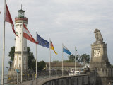 Harbour Entrance with Lighthouse and Lion, Lindau, Lake Constance, Germany Photographic Print by James Emmerson