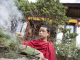 Buddhist Monk Burning Incense, Sey Lhakhang Temple, Bumthang, Bhutan,Asia Photographic Print by Angelo Cavalli