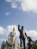 Statue of Walt Disney and Micky Mouse at Disney World, Orlando, Florida, USA Photographic Print by Angelo Cavalli
