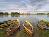 Colourful Rowing Boats and Trakai Castle, Trakai, Near Vilnius, Lithuania, Baltic States Photographic Print by Gary Cook