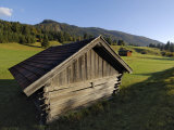Wooden Barns Dot the Alpine Landscape, Near Garmisch-Partenkirchen and Mittenwald, Bavaria, Germany Photographic Print by Gary Cook