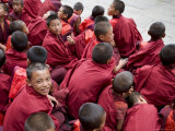 Monks Watching Religious Dances, Buddhist Festival (Tsechu), Trashi Chhoe Dzong, Thimphu, Bhutan Photographic Print by Angelo Cavalli