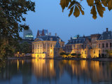 Mauritshuis and Government Buildings of Binnenhof at Night, Hofvijver, Den Haag Photographic Print by Gary Cook