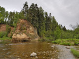 Vartes Rock, River Amata, Near Ligatne, Gauja National Park, Latvia, Baltic States Photographic Print by Gary Cook