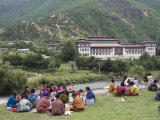 Pilgrims Having Picnic During Buddhist Festival, Trashi Chhoe Dzong, Thimphu, Bhutan Photographic Print by Angelo Cavalli