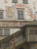 Gable Detail with Murals and Stairway, Rathaus, Lindau, Bavaria, Lake Constance, Germany Photographic Print by James Emmerson