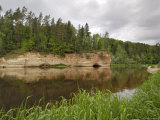 Sandstone Cliff Alongside the River Gauja, Near Ligatne, Gauja National Park, Latvia Photographic Print by Gary Cook