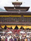 Buddhist Festival (Tsechu), Trashi Chhoe Dzong, Thimphu, Bhutan Photographic Print by Angelo Cavalli