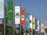 Pennants in Eyre Square Representing the Tribes of Galway, County Galway, Connacht, Ireland Photographic Print by Gary Cook