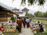 Market During Buddhist Festival (Tsechu), Thimphu, Bhutan Photographic Print by Angelo Cavalli
