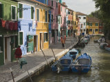 Couloured Houses with Washing Lines, Alongside Canal, Burano, Venetian Lagoon, Veneto, Italy Photographic Print by James Emmerson