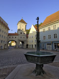 Fountain and the Sandauertor in the City Walls, Landsberg Am Lech, Bavaria, Germany Photographic Print by Gary Cook