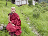 Young Buddhist Monk, Karchu Dratsang Monastery, Bumthang, Bhutan Photographic Print by Angelo Cavalli