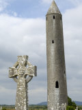 Kilmacdaugh Round Tower and Celtic Style Cross, Near Gort, County Galway, Connacht, Ireland Photographic Print by Gary Cook