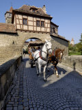 Tourist Horse and Carriage Passing Through the Rodertor, Rothenburg Ob Der Tauber, Germany Photographic Print by Gary Cook