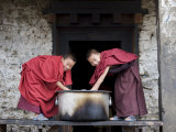 Buddhist Monks, Karchu Dratsang Monastery, Jankar, Bumthang, Bhutan Photographic Print by Angelo Cavalli