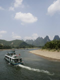 Cruise Boats on Li River, Between Guilin and Yangshuo, Guilin, Guangxi Province, China Photographic Print by Angelo Cavalli