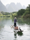 Fisherman with Cormorants, Yangshuo, Li River, Guangxi Province, China Photographic Print by Angelo Cavalli