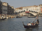 Gondolas on the Grand Canal at the Rialto Bridge, Venice, Unesco World Heritage Site, Veneto, Italy Photographic Print by James Emmerson