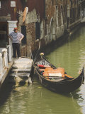 Gondolier and Gondola for Hire on Canal, Venice, Veneto, Italy Photographic Print by James Emmerson