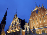 House of the Blackheads at Night, Town Hall Square, Ratslaukums, Riga, Latvia, Baltic States Photographic Print by Gary Cook