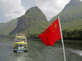 Cruise Boat with Chinese Flag on Li River Between Guilin and Yangshuo, Guilin, China Photographic Print by Angelo Cavalli