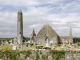 Kilmacdaugh Churches and Round Tower, Near Gort, County Galway, Connacht, Republic of Ireland Photographic Print by Gary Cook
