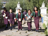 Bhutanese Children Going to School, Paro, Bhutan Photographic Print by Angelo Cavalli