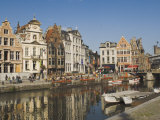 Merchants' Premises with Traditional Gables, by the River, Ghent, Belgium Photographic Print by James Emmerson