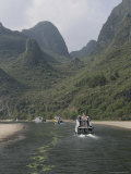 Cruise Boats on Li River Between Guilin and Yangshuo, Guilin, Guangxi Province, China Photographic Print by Angelo Cavalli