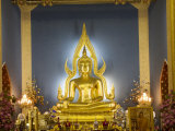 Giant Golden Statue of the Buddha, Wat Benchamabophit (Marble Temple), Bangkok, Thailand Photographic Print by Angelo Cavalli